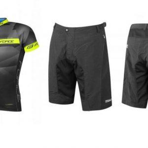 Force BEST černo-fluo cyklistický dres + Force MTB-11 černé (výhodný set)