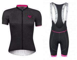 Force POINTS černo-růžový dres - kr. rukáv + Force FAME LADY černo-růžové cyklokalhoty