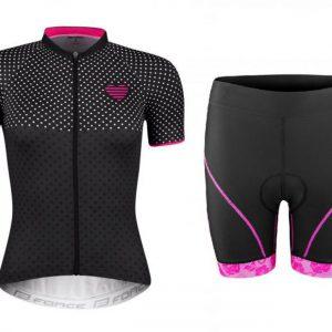 Force POINTS černo-růžový dres - kr. rukáv + Force ROSE černo-růžové cyklokraťasy