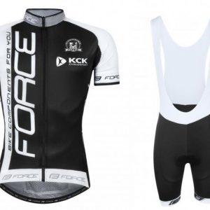 Force TEAM18 černo-bílý dres + Force B38 černé cyklokraťasy
