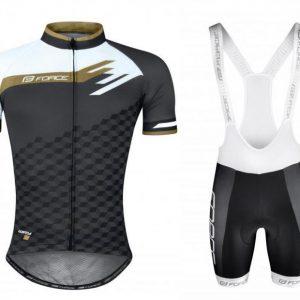 Force WAY šedo-bílo-zlatý dres - kr. rukáv + Force TEAM18 černo-bílé kraťasy