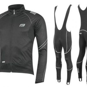Force X70 šedo-černá cyklistická bunda + Force Z70 SOFTSHELL cyklokalhoty