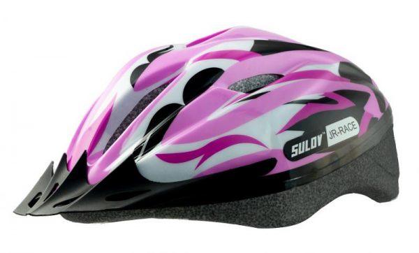 Sulov Jr-race-g růžovo-zelená dětská cyklo helma