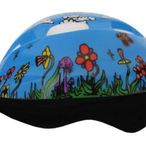 Fly Dětská cyklistická helma modrá s kytičkami