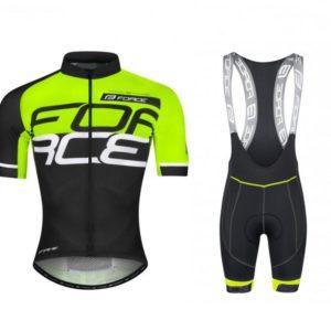 Force FAME fluo-černo-bílý dres + Force FAME černo-fluo cyklokalhoty