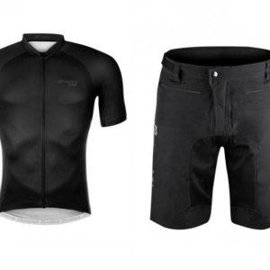 Force SHINE černý dres - krátký rukáv + Force MTB-11 černé cyklokraťasy