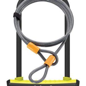 Onguard zámek podkova 115x230x11 mm žlutá + lanko 1200x10 mm
