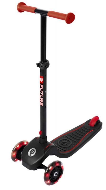 QPlay Future Scooter - Boys and Girls - Black with Red - Led Lighting